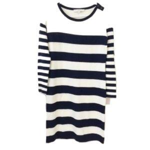 LOFT Black and White Striped Knit Sweater Dress
